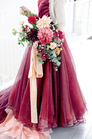 Berry Toned Faux Flower Bridal Bouquet