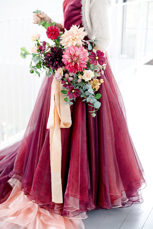 Berry Toned Faux Flower Bridal Bouquet