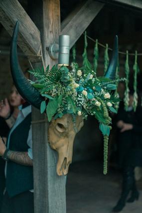 Bohemian Skull Floral Wedding Venue Decoration