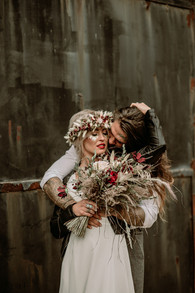 Dried Flower Bridal Bouquet and Flower Crown