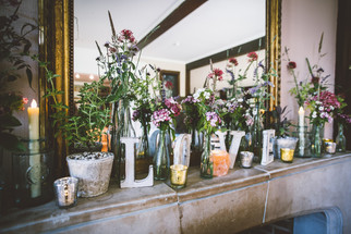 Mantelpiece Arrangment of Local Seasonal Flowers