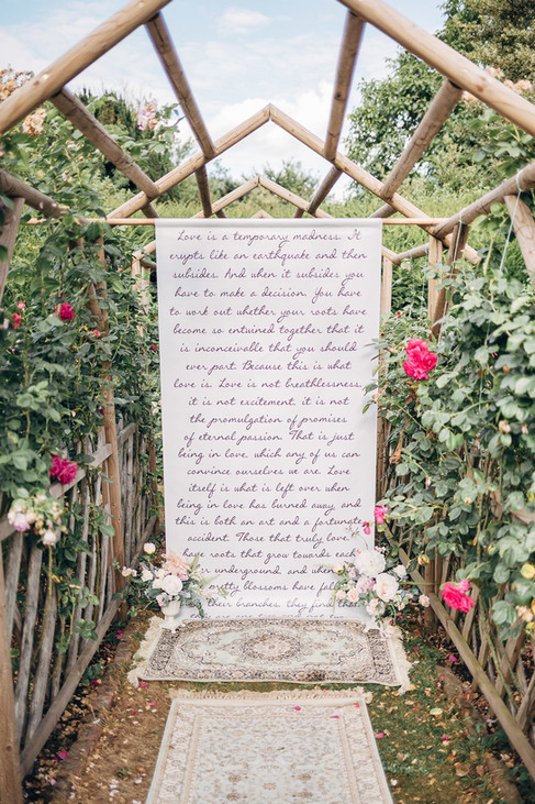 Quote Backdrop at Nurstead Court, Kent