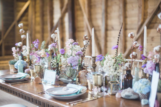 Pastel Table Centre Arrangements of Dried and Seasonal Flowers