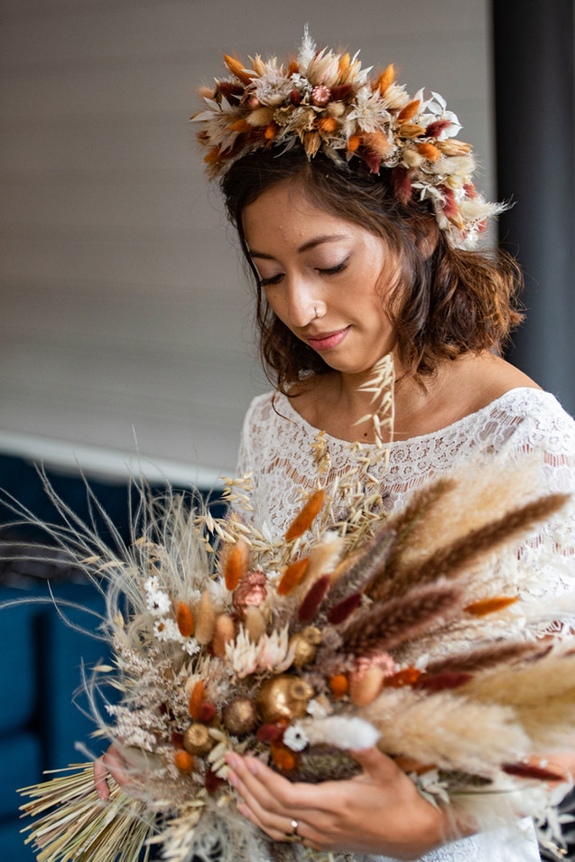 Dried Flower Crown and Bridal Bouquet