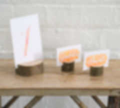 Wood Slice Place Names and Table Number Holders