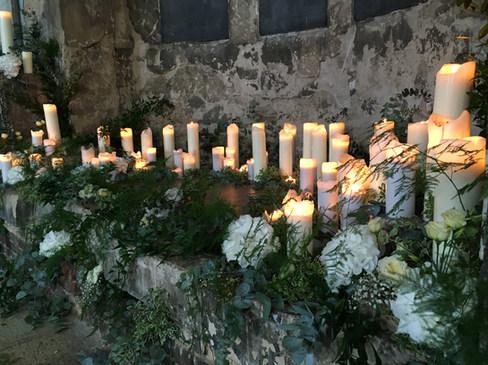 Wedding Ceremony Candle and Foliage Arrangement