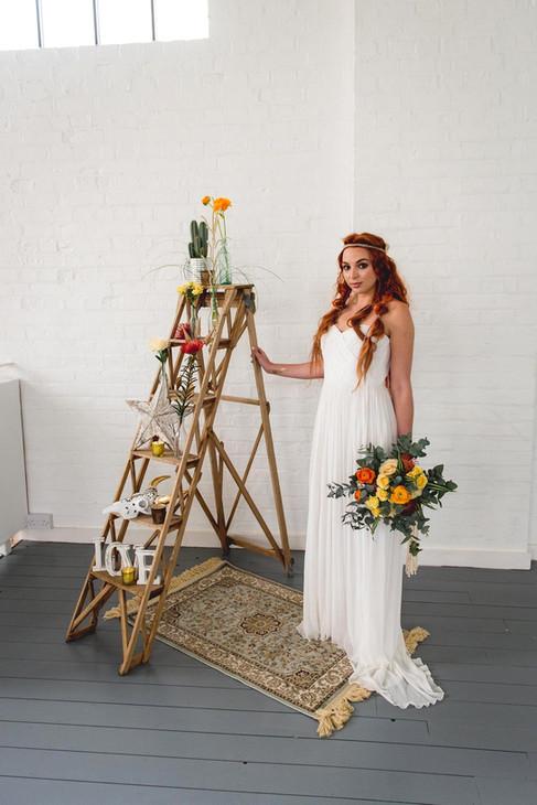 Vintage Wooden Lattice Ladder, Resin Skull, Boho Rugs, LOVE sign, and Southwestern Star at The Winding House, Kent