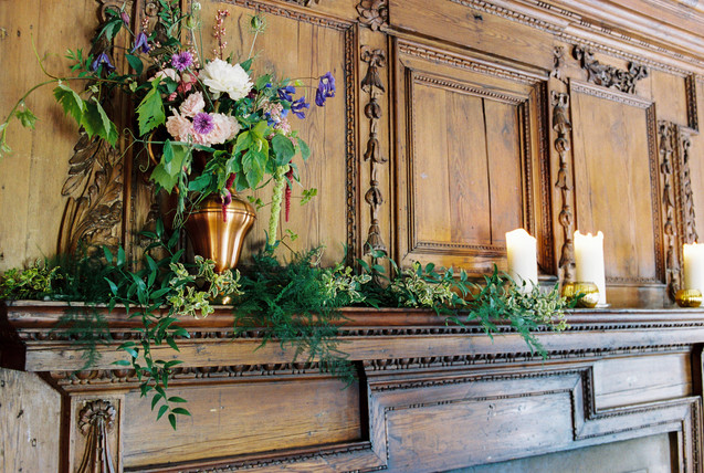 A Mantelpiece Arrangement of Local Seasonal Flowers