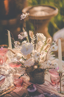 Dried and Faux Flower Wedding Reception Table Centre