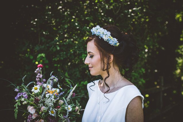 Blue Artificial Silk Flower Headband