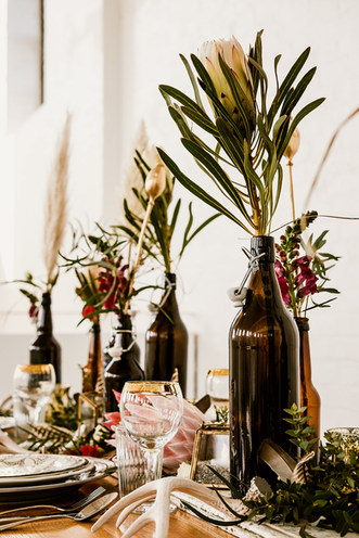 Boho Protea Reception Table Flowers and Styling at The Winding House Kent