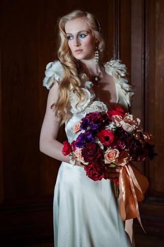 Silk Flower Berry-Toned Bridal Bouquet