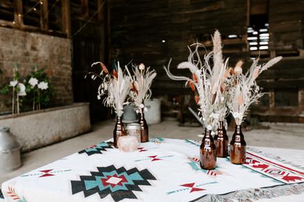 Dried Flower Wedding Reception Table Arrangements