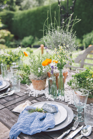 Seasonal Herbal Wedding Reception Table Centres