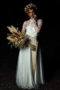 Bridal Dried Flower Bouquet and Hair Garland