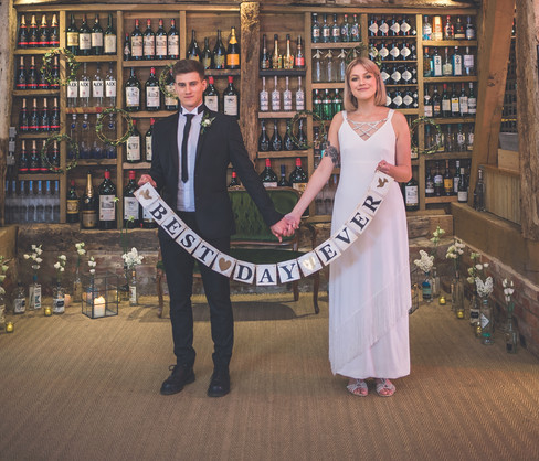 BEST DAY EVER Wedding Sign, Assorted Rum, Gin and Vodka Labelled Bottles, Gold Tea Light Holders at Odo's Barn, Kent