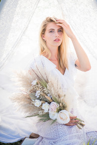 Boho Dried and Faux Flower Bridal Bouquet