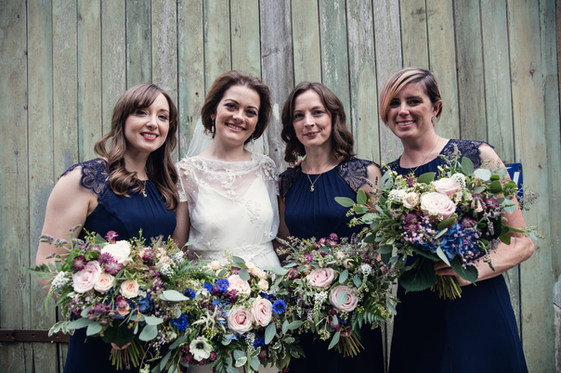 Bride and Bridesmaids with Blue and Blush Pink Bouquets