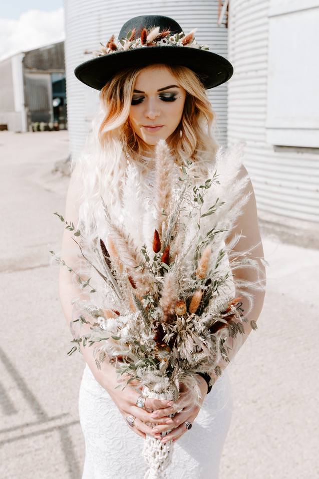 Dried Flower and Foliage Bridal Bouquet and Hair Garland