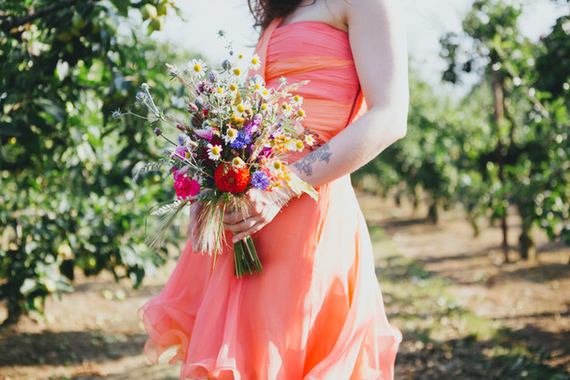 Colourful Bridesmaid Bouquet of Local Seasonal Flowers