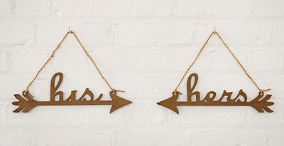 His & Hers Arrow Chairback Wedding Signs