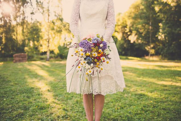 Trailing Bridal Bouquet of Local Seasonal Flowers