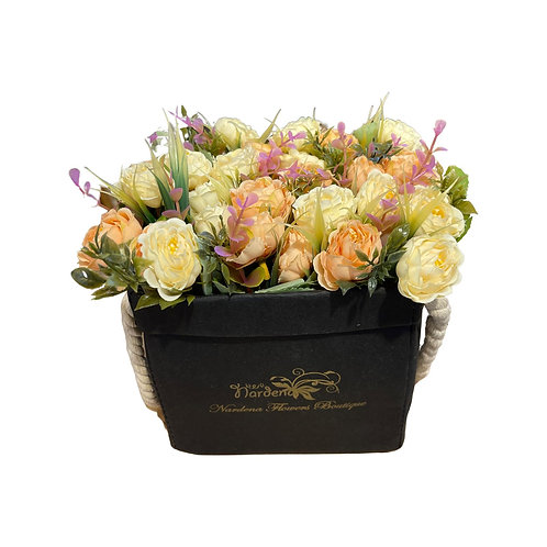 Artificial Flowers  with Waxed Paper Basket