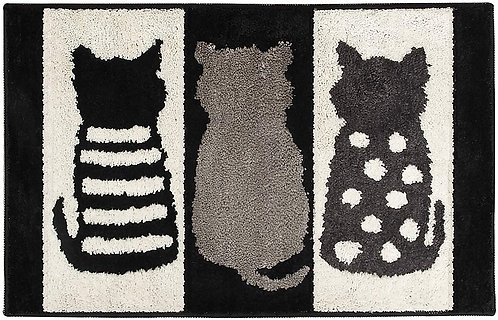 Flocking Floor Mat - Black & White Cats (L)