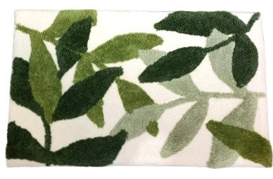 Flocking Floor Mat - Green Leaf
