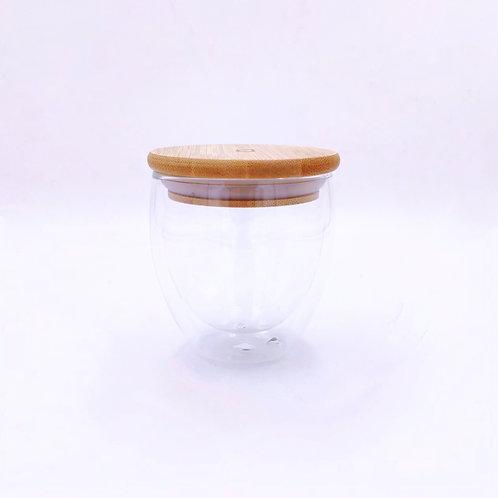 雙層玻璃杯連竹蓋