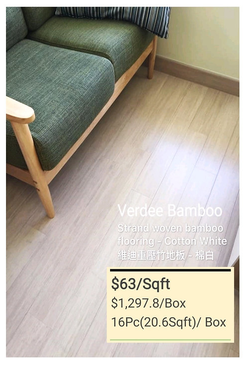 COLOUR Bamboo Flooring - Cotton $63/sqft  $1297.8/Box + Delivery$300