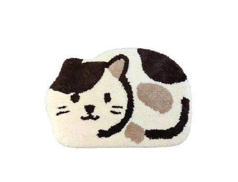 植絨地墊-白貓