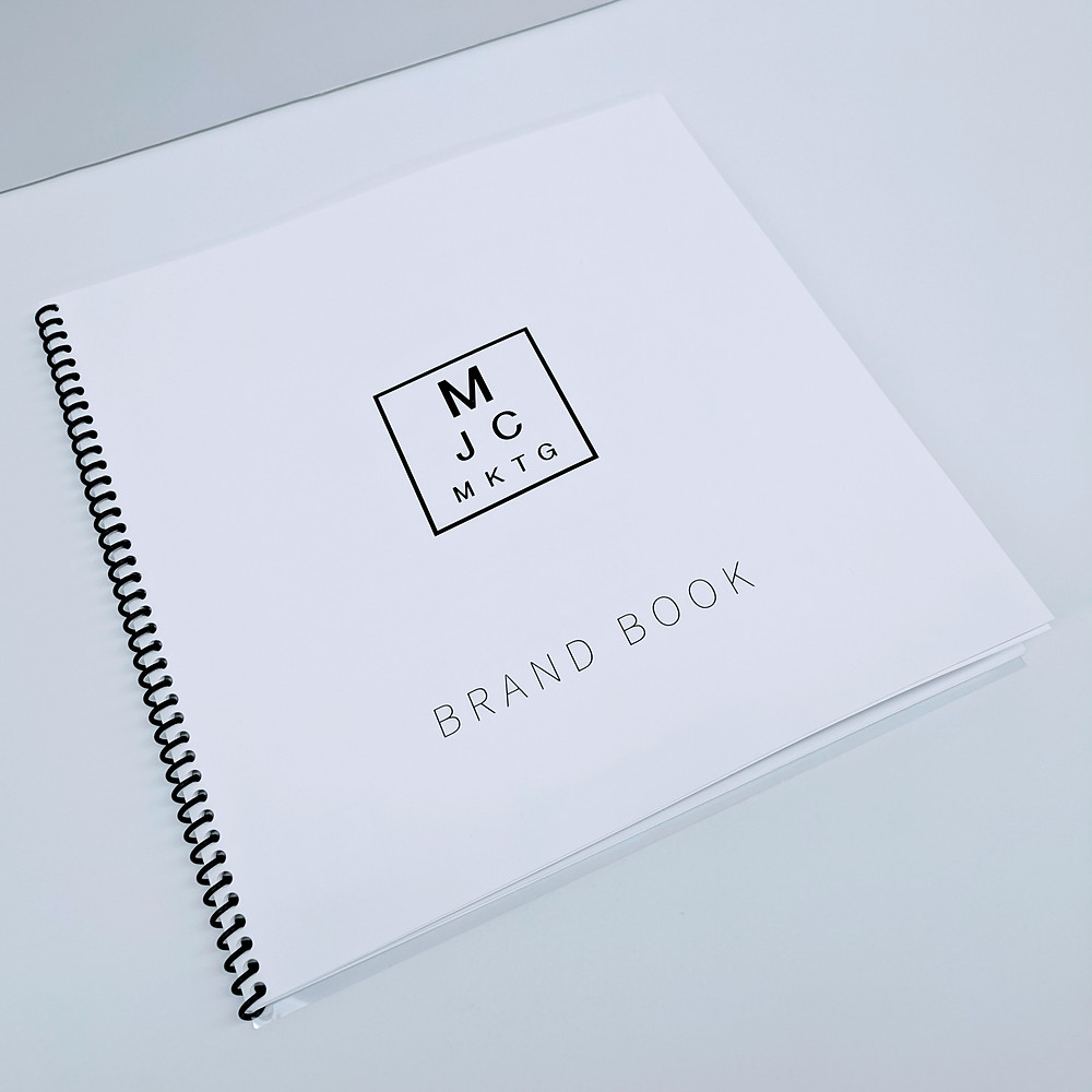 Cover of MJC MKTG brand book. Logo and words Brand Book