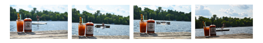 100 Mile Sauce Bloody Mary Mix and Bloody Mary with garnish in foreground. Woman jumping of raft in background.