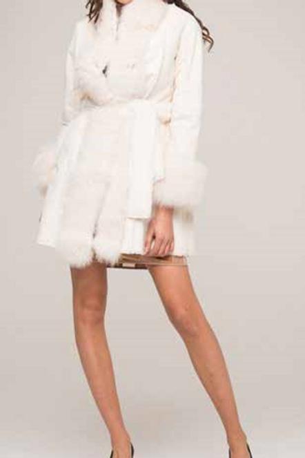 Cappotto Ecomontone con pelliccia vera Bianco  - Roberta Biagi Cap0280