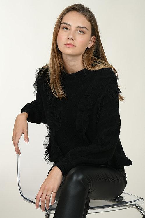 Maglione traforato con tulle disponibile NERO- Molly Bracken