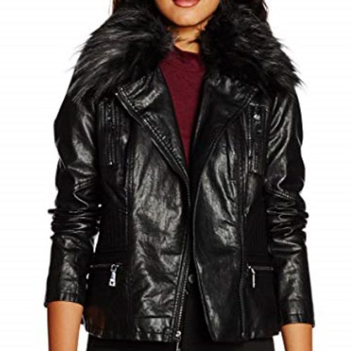 Jacket ecopelle con pelliccia ecologica