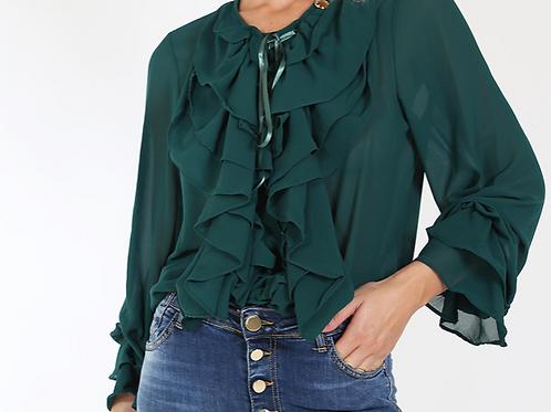 Camicia in Georgette Multi Rouge Verde /Bianca - Roberta Biagi CAM0880