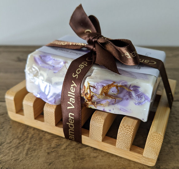Luxury Soap Bar With Eco Friendly Bamboo Soap Dish