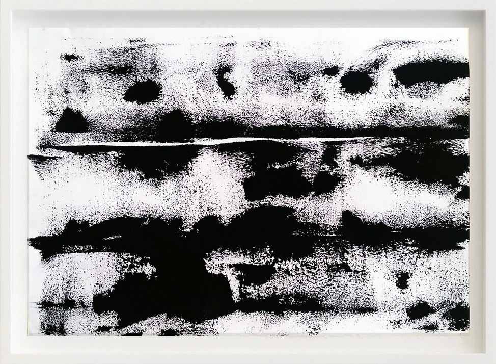 Black, 2017 sketch paper, ink, rock 297mm x 21mm