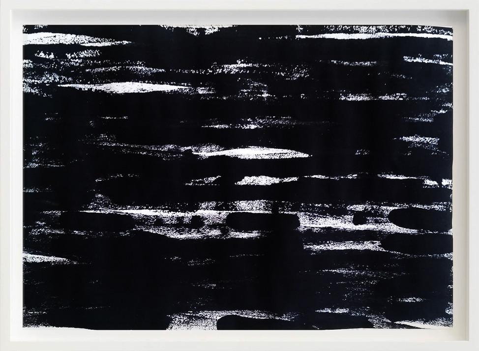 Black, 2017 sketch paper, ink, concrete floor 297mm x 21mm