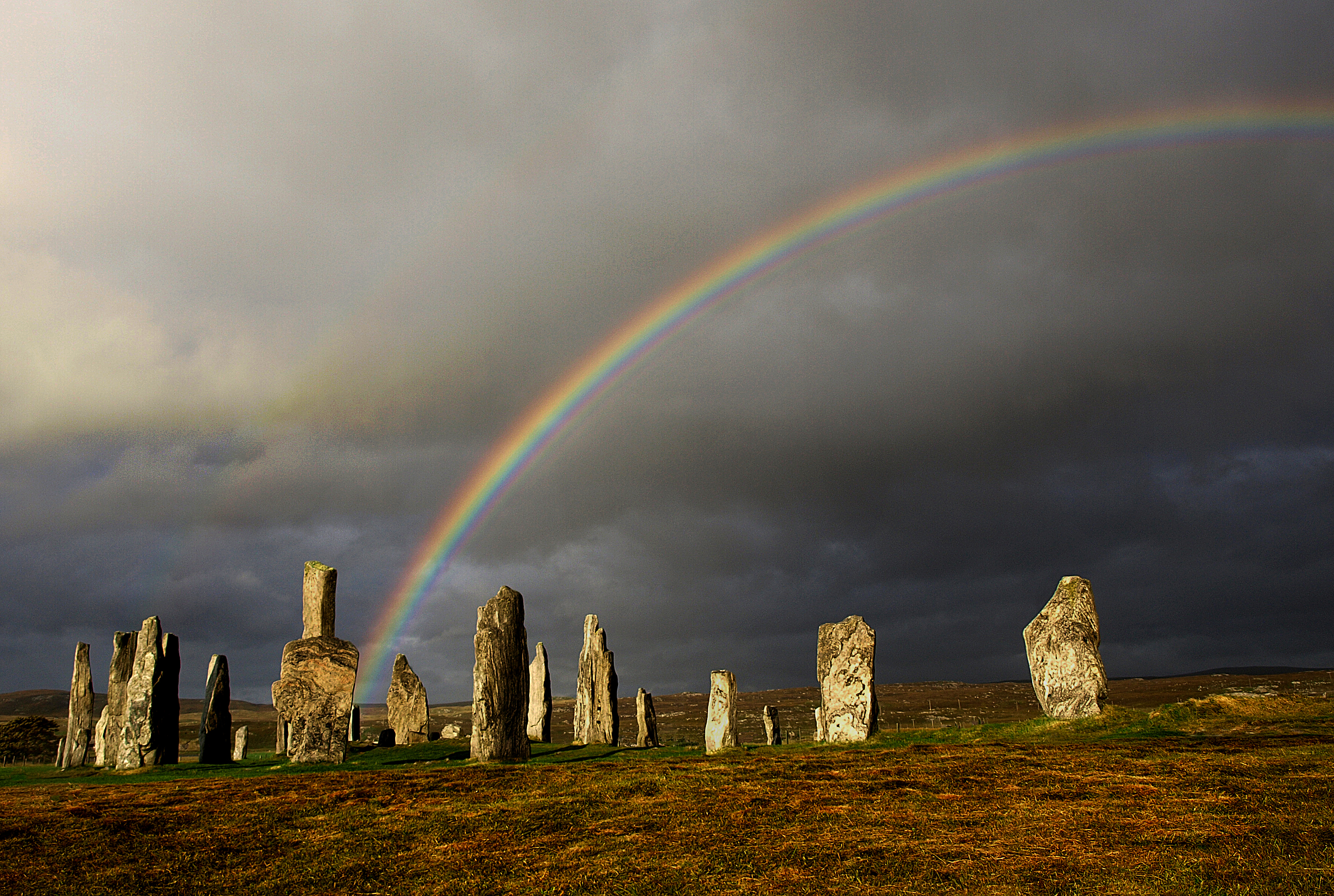 Rainbow  over Callanish Stones
