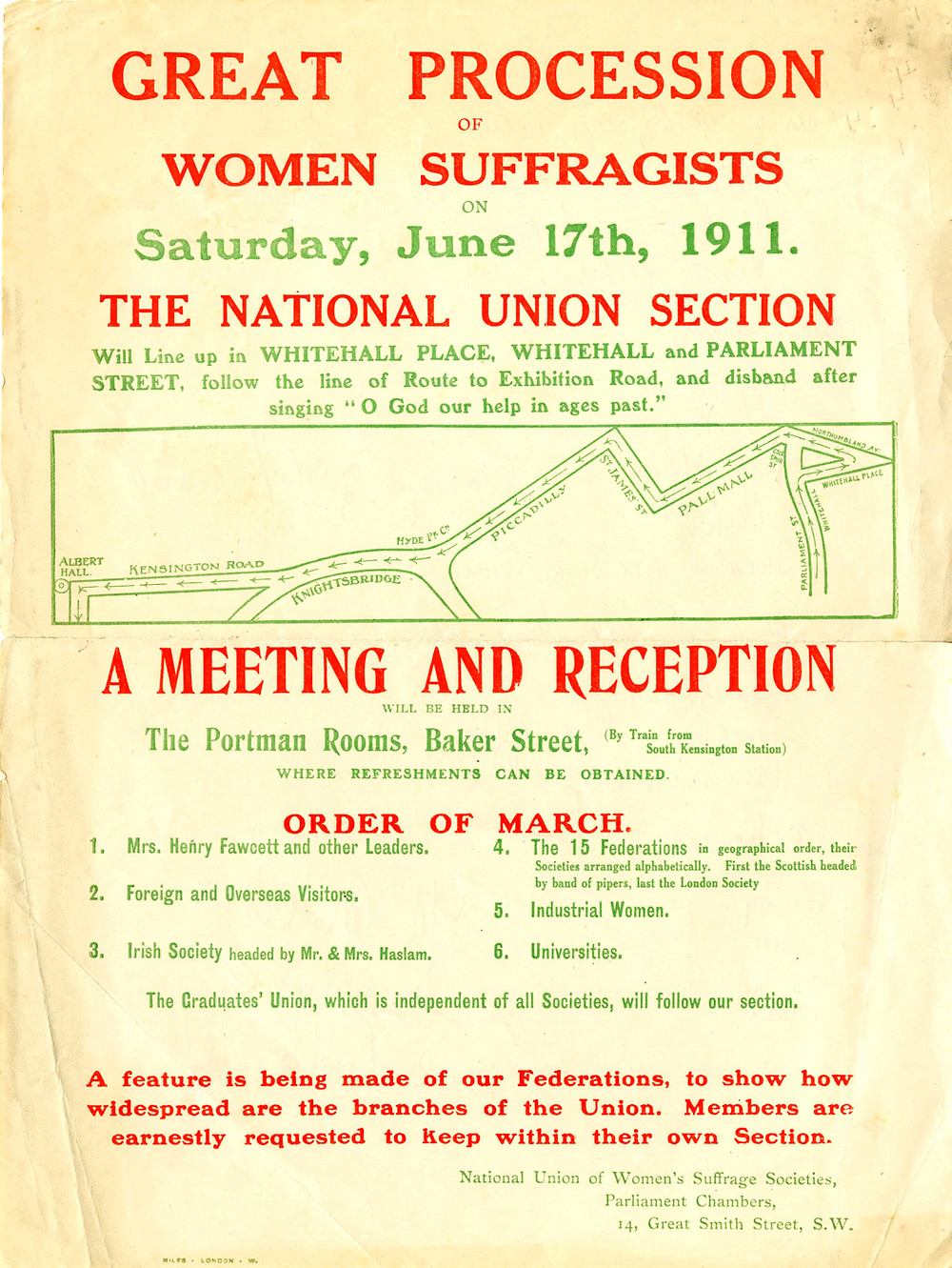 NUWSS Flyer. Source & Copyright: The Women's Library (LSE).