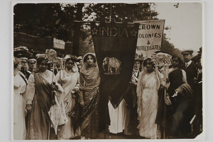 Group of Indian suffragettes in the Empire section of the procession. Source & Copyright: The Museum of London