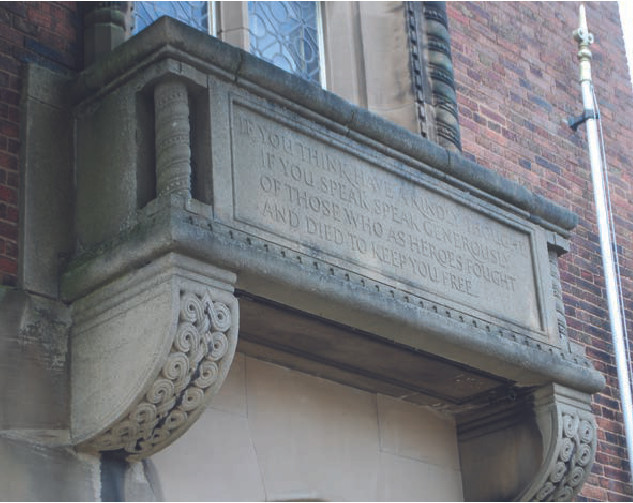 Memorial Tower balcony with inscription