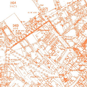 First edition OS map of 1884 showing site of Council House