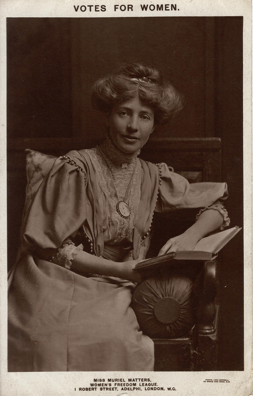 Muriel Matters in a publicity portrait taken for the Women's Freedom League (London School of Economics, TWL.2002.67)