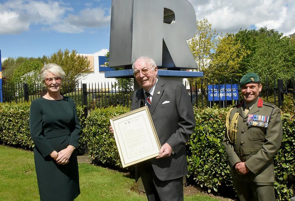 Major Sylvia Parkin Ex SaBRE  Regional Director, Roy Richardson and Royal Marines Brigadier Jock Fraser MBE ADC, Naval Regional Commander