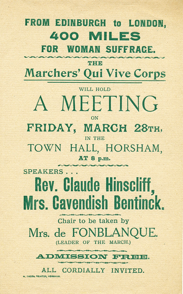 Poster advertising a meeting of the Qui Vive Corps in Horsham, c1913 (MP 1666)