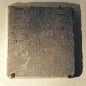 Memorial Tablet to Frances Beaumont, daughter of Lt Colonel John Beaumont